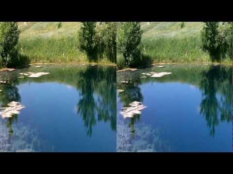 Голубое озеро в 3D. Blue lake in 3D.