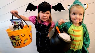 TRiCK or TREAT inside our HOUSE!!  Halloween Routine safe DIY neighborhood with Mom & Dad costumes!