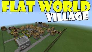 FLAT WORLD VILLAGE   Minecraft PE (Pocket edition) MCPE