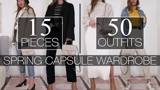 15 PIECES   50 OUTFITS - Spring Capsule Wardrobe