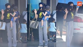 Sunny Leone spotted with mask at kids play school in Juhu..