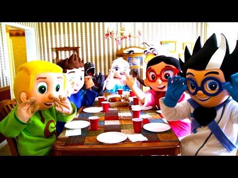 PJ Masks Adventures Frozen Elsa Makes Dinner, Villain Romeo Steals Toys Peppa Paw Patrol, Spiderman