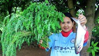 Healthy Food Cooking (Korko) Moringa benefits W/ Fish Dilecious Cook Recipe - Eating Show No Talking