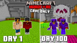 We survived 100 days of Hardcore Minecraft in an all cave world and here's what happend.