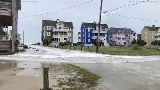 Hurricane Florence storm surge rushes onto Hatteras Island