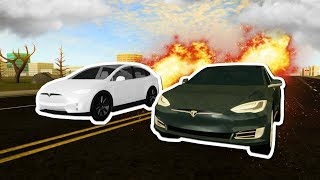 Racing Tesla Model S Vs X In Roblox Vehicle Simulator