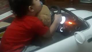 Funny baby sleepy while driving a car😅