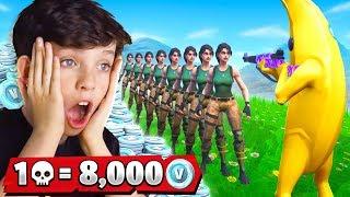 1 Elimination = 8,000 *free* VBucks With My Little Brother (Fortnite Battle Royale)