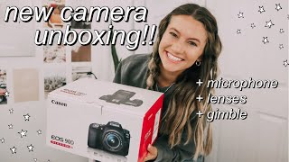 unboxing my Canon 90D Camera + other new filming equipment!! (lenses, gimbal, etc.)