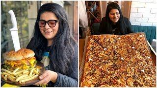 Biggest Pizza & Biggest Burger in Delhi I Monster pizza & burger at American Connection, Kalkaji