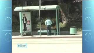 Ellen Hides Tickets at a Bus Stop for Her Twitter Followers!