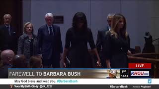 Watch: Bush grandchildren, Clintons, Obamas arrive for funeral of Barbara Bush
