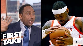 Stephen A.: 'No excuse' for Carmelo Anthony to come off the bench for Rockets   First Take   ESPN