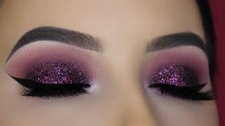 Purple Mauve Glitter Eye Makeup Tutorial