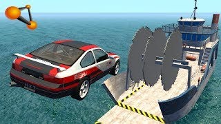 BeamNG.drive - Giant Saw Against Cars #2