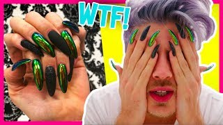 WEARING KYLIE JENNER NAILS FOR A DAY! | Joey Graceffa