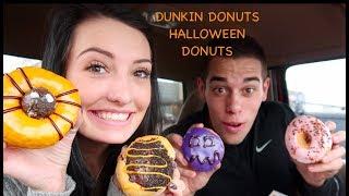 HALLOWEEN DUNKIN DONUTS TASTE TEST! COUPLES CHEAT DAY #11
