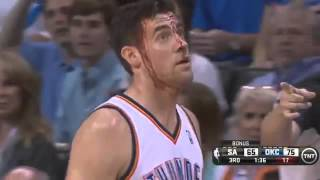 Nick Collison Injury.. Face COVERED in blood..