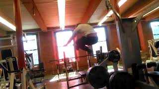 ass crack killing jumping over bench press onto window