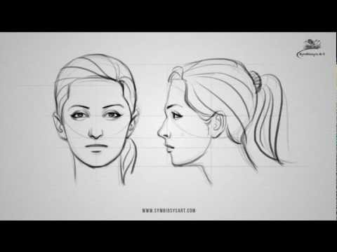 How to draw a female face - front and side view