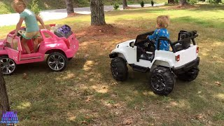 Power Wheels Ride On Race & Crash Cupcake Surprise Princess Toys on Kids Pirate Ship Playground Park