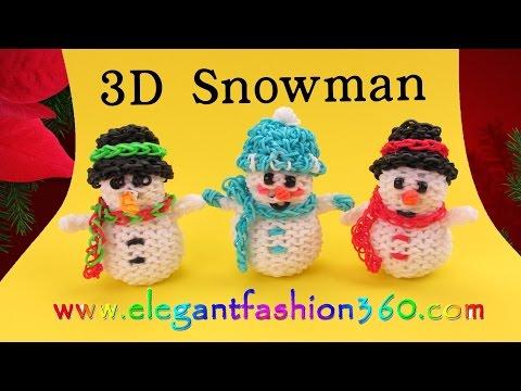 Rainbow Loom Snowman 3D Charms - How to Loom Bands- Holiday/Christmas Ornaments