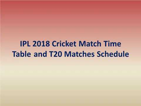 IPL 2018 Cricket Match Time Table and T20 Matches Schedule
