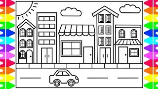 How to Draw a TOWN for Kids 💙💚💜Town Drawing for Kids | Town Coloring Pages for Kids