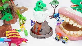 Minions Put a Bomb on a Volcano! Dinosaurs Run From Volcano!   ToyMoon