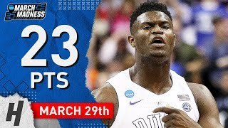 Zion Williamson Full Highlights Duke vs Virginia Tech 2019.03.29 - 23 Points, SICK!
