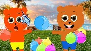 Mega Gummy bear Play with Water Balloons Cartoon Animation Nursery Rhymes