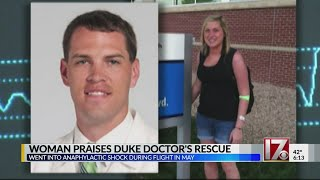 Woman thanking Duke doctor for saving her life on flight