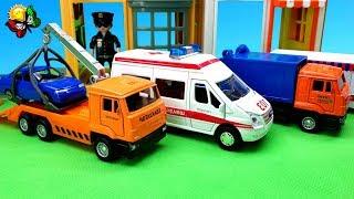 شاحنة إطفاء ، شاحنة سحب ، خلاطة خرسانة ، شاحنة لجمع القمامة. الكرتون والتفريغ