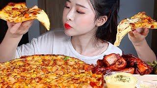 관자새우피자 디핑소스 리얼사운드먹방/Seafood Pizza CHEESY Dipping Sauce Mukbang Eating Show ピザ チキン พิซซ่า đồ ăn biển