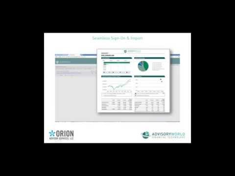 AdvisoryWorld: Orion Advisor Integration including Client Dashboard