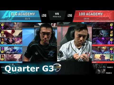 100A vs CLGA Quarter Finals Game 3 na academy league Summer 2018 - 100  Thieves Academy vs CLG Gaming Academy LoL eSports S8 NA Academy League  Summer 2018.