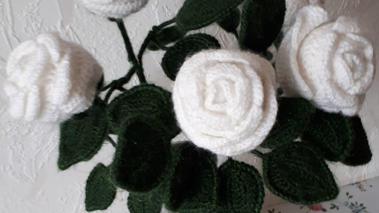белые розы крючком видео