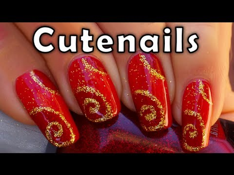 Easy Red And Gold Nail Designs Easy Red And Gold Nail Designs