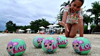 Giant LOL Surprise Baby Dolls On The Beach - Kids Toys Opening | Toys AndMe