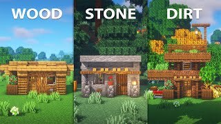 Minecraft   3 Starter Houses With 3 Different Materials