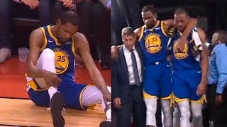 "Kevin Durant injury, Raptor fans chanting ""KD"" as he goes to the lockerroom"