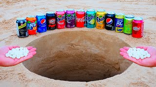 Different Cans of Fanta, Coca Cola, Dr Pepper, Pepsi and Other Popular Sodas vs Mentos Underground