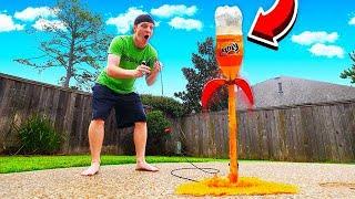 MAKING A SODA ROCKET LAUNCHER! EXPLODING BOTTLE!
