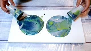 (50) Grey, Metallic Green & Deep Blue Acrylic Pour Dirty Cup Flip!