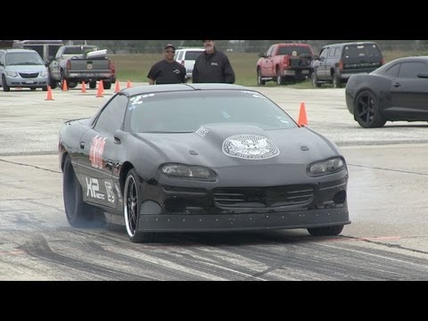 Twin Turbo Camaro - getting sideways - Texas Mile