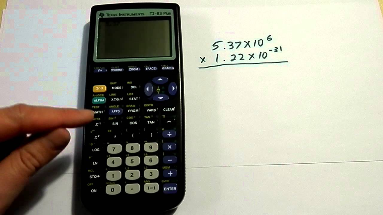 Entering scientific notation on a TI 83 or TI 84 ...