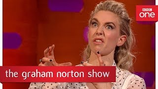 Vanessa Kirby recognised as Princess Margaret swigging her journey juice!  - The Graham Norton Show