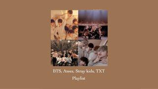 BTS, TXT, Stray Kids, Ateez chill/study playlist ੈ♡˳·˙‧̍̊