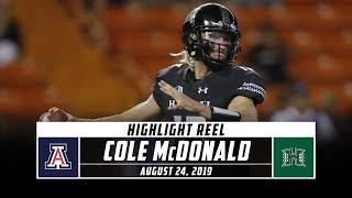 Cole McDonald Highlights: Arizona vs. Hawaii 2019 | Stadium
