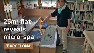 Tiny matchbox apartment hides closet & bathtub in drawers
